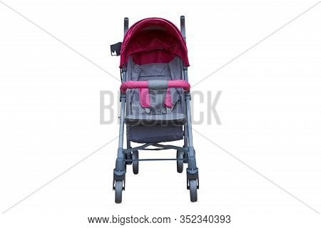 Stroller In Front Isolated, Gray Stroller For A Girl On A White Background, Selling Baby Strollers
