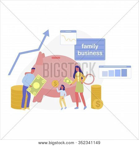 Three Membered Traditional Family Doing Successful Business Altogether. Father, Mother And Daughter,