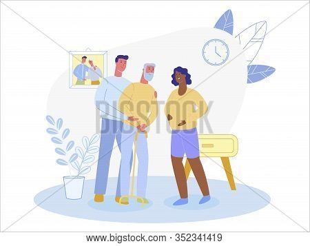 Young Multi Cultural Couple, Caucasian Man And Afro Woman, Expecting Baby Soon. Grandson, Visiting A