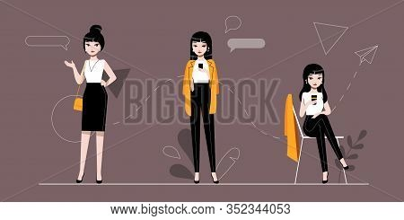 Businesswoman And Self Employment Concept.self Confident Businesswoman Character In Different Poses