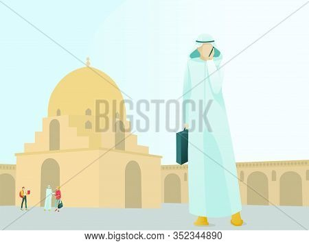 Arab Businessman Standing Near Mosque With Mobile Phone And Having Business Call. Muslim Supervisor