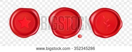 Wax Seal With Heart, Branch And Star. Red Stamp Wax Seal With Heart, Branch And Star Isolated On Tra