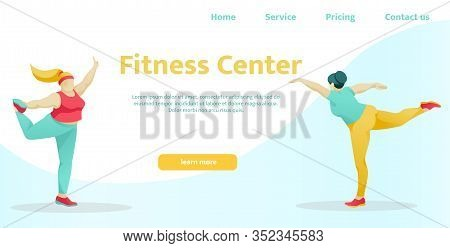 Flat Landing Page For Modern Fitness Center, Sport Club, Physical Workout Studio, Gym. Homepage Inte