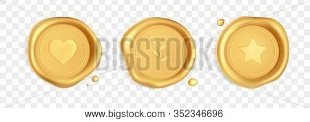 Wax Seal With Heart, Branch And Star. Gold Stamp Wax Seal With Heart, Branch And Star Isolated On Tr