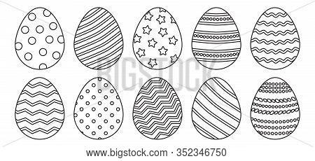Easter Eggs Different Ornament, Line Art. Vector Illustration