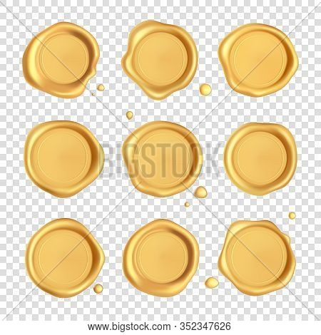 Wax Seal Collection. Gold Stamp Wax Seal Set With Drops Isolated On Transparent Background. Realisti