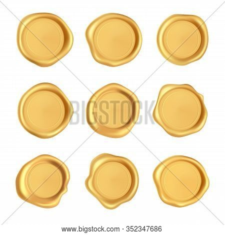 Wax Seal Collection. Gold Stamp Wax Seal Set Isolated On White Background. Realistic Guaranteed Gold