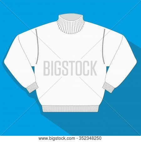 Vector Illustration, Sweater With High Collar. Collection With Different Clothes.