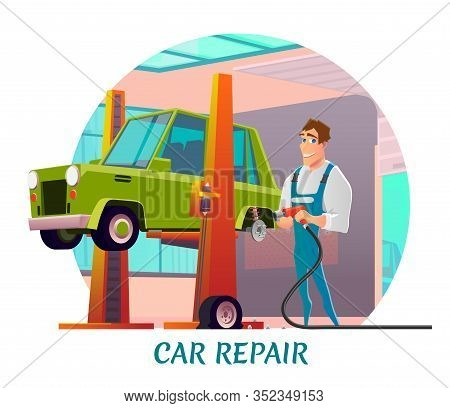 Car Repair Service Advertisement. Friendly Smiling Cartoon Repairman Stands Near Retro Automobile Ha