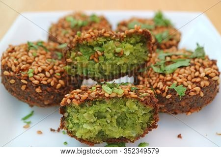 Closeup Delectable Falafel Deep-fried Balls, Crispy Outside And Soft Inside