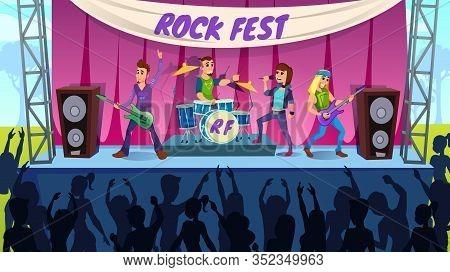 Advertising Banner Party Rock Fest Cartoon Flat. Development And Organization Music Festivals. Rock