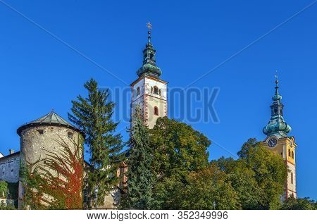 Towers Of Castle And Church In Banska Bystrica, Slovakia