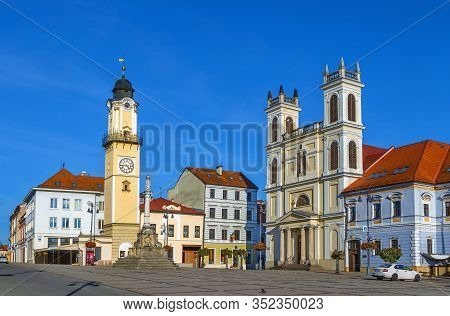St. Francis Xavier Cathedral And Clock Tower On Slovak National Uprising Square In Banska Bystrica,