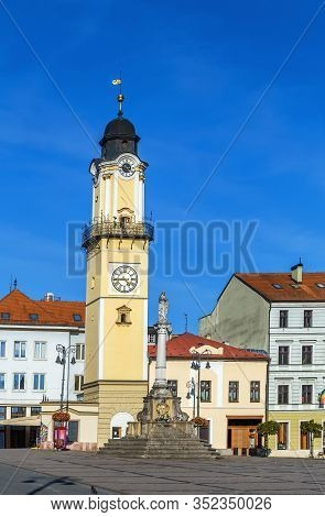 Clock Tower On Slovak National Uprising Square In Banska Bystrica, Slovakia
