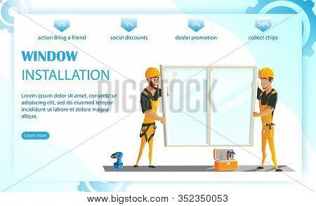 Window Installation Website Design Flat Cartoon Vector Illustration. Replacement Plastic Windows. Me