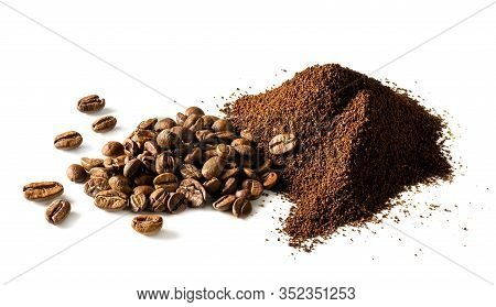 Ground Coffee And Coffee Beans Isolated On White Background.