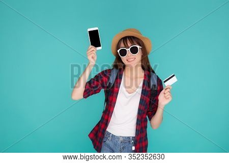 Beautiful Portrait Young Asian Woman Wear Travel Summer Fashion Holding Credit Card And Smart Mobile