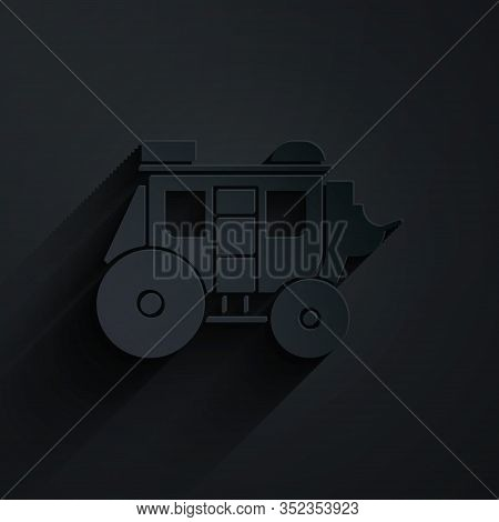Paper Cut Western Stagecoach Icon Isolated On Black Background. Paper Art Style. Vector Illustration