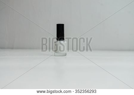 White Colorful And Bright Nail Polish Isolated With Copy Space.