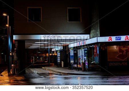 Mainz, Germany - January 28, 2020: Night Streets Near The Main Station In Mainz, Germany.