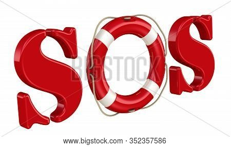 Sos Is A Morse Code Distress Signal. The Red Lifebuoy In The International Distress Signal Sos Stand