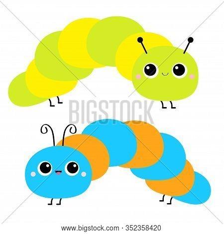 Cute Crawling Catapillar Bug. Caterpillar Insect Icon Set. Cartoon Funny Kawaii Baby Animal Characte