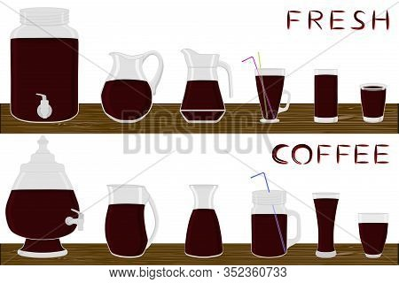 Illustration On Theme Big Kit Different Types Glassware, Coffee Jugs Various Size. Glassware Consist