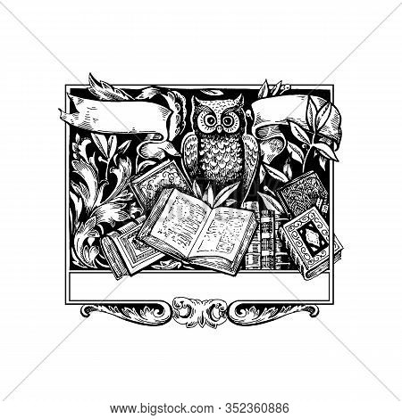 Victorian Baroque Floral Ornament Decorative Pattern Calligraphic Swirl Heraldic Filigree Framework.