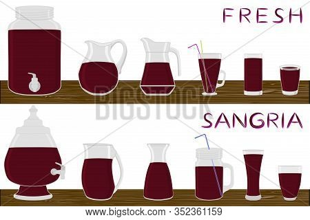 Illustration On Theme Big Kit Different Types Glassware, Sangria In Jugs Various Size. Glassware Con