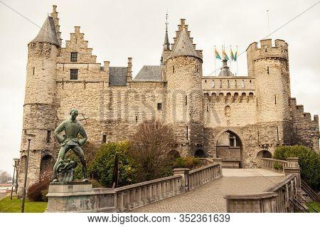 Medieval Castle Het Steen In Antwerp, Belgium In Cloudy Spring Autumn Day. Famous Touristic Destinat
