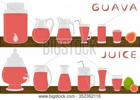Illustration On Theme Big Kit Different Types Glassware, Guava In Jugs Various Size. Glassware Consi
