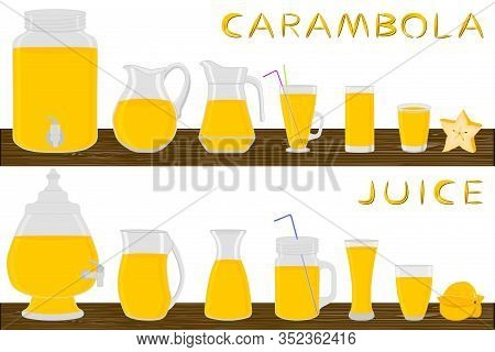 Illustration On Theme Big Kit Different Types Glassware, Carambola Jugs Various Size. Glassware Cons