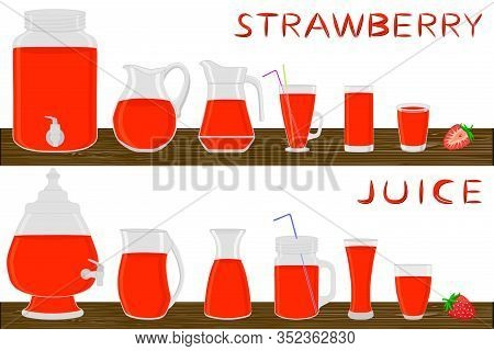 Big Kit Different Types Glassware, Strawberry In Jugs Various Size. Glassware Consisting Of Organic