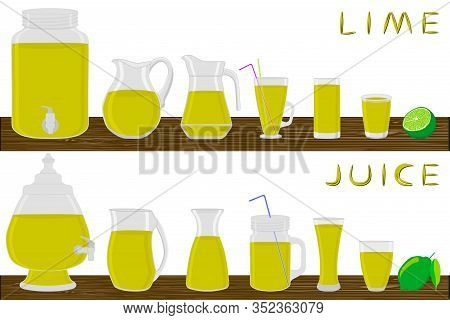 Illustration On Theme Big Kit Different Types Glassware, Lime In Jugs Various Size. Glassware Consis