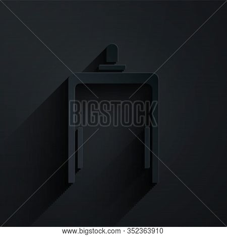 Paper Cut Metal Detector In Airport Icon Isolated On Black Background. Airport Security Guard On Met