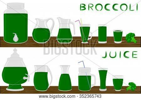 Illustration On Theme Big Kit Different Types Glassware, Broccoli Jugs Various Size. Glassware Consi