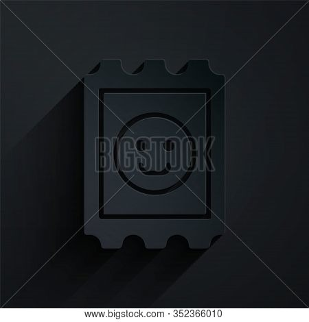 Paper Cut Lsd Acid Mark Icon Isolated On Black Background. Acid Narcotic. Postmark. Postage Stamp. H