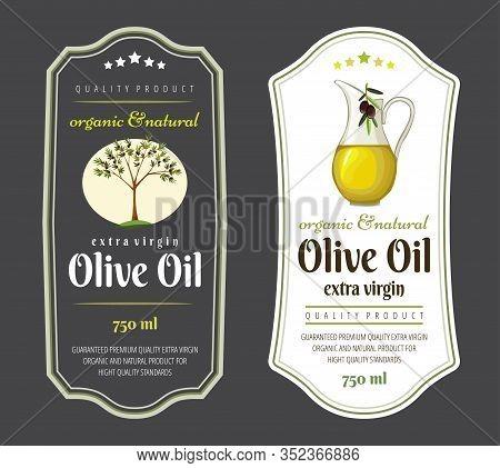Set Of Flat Labels And Badges Of Olive Oil. Vector Illustrations For Olive Oil Labels, Packaging Des
