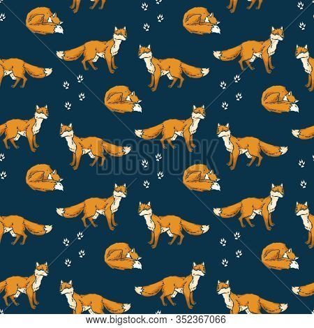 Red Foxes Seamless Pattern On A Dark Blue Background