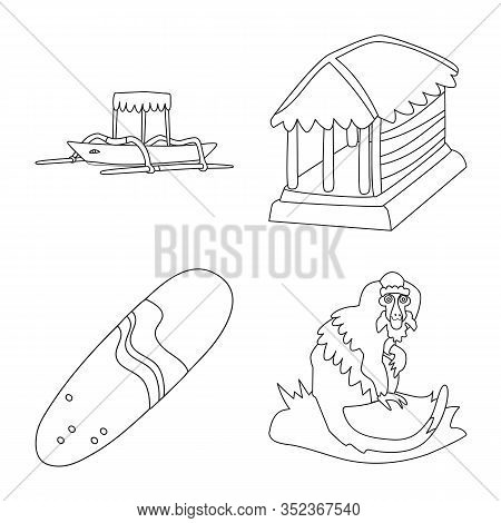 Isolated Object Of Balinese And Caribbean Symbol. Collection Of Balinese And Geography Vector Icon F