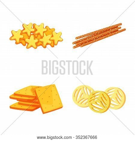 Vector Design Of Food And Crunchy Symbol. Set Of Food And Flavor Stock Symbol For Web.