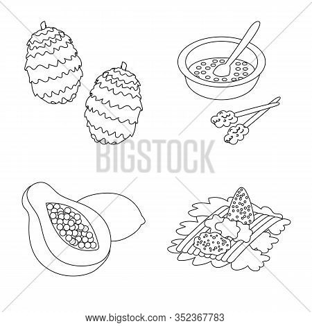 Vector Design Of Balinese And Caribbean Icon. Collection Of Balinese And Geography Stock Symbol For