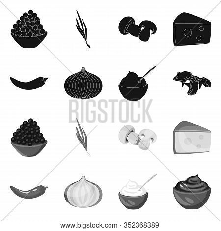 Isolated Object Of Taste And Product Symbol. Set Of Taste And Cooking Stock Vector Illustration.