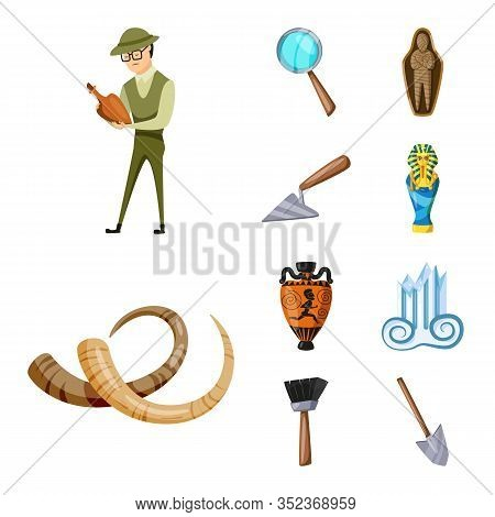 Isolated Object Of Archaeology And Historical Sign. Set Of Archaeology And Excavation Stock Vector I