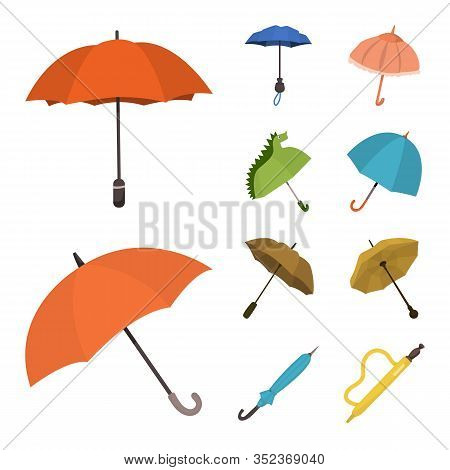 Vector Illustration Of Umbrella And Rain Logo. Set Of Umbrella And Weather Stock Symbol For Web.