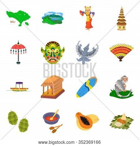 Vector Illustration Of Bali And Indonesia Logo. Collection Of Bali And Caribbean Stock Symbol For We
