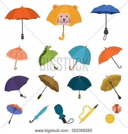 Vector Design Of Umbrella And Rain Logo. Set Of Umbrella And Weather Stock Vector Illustration.