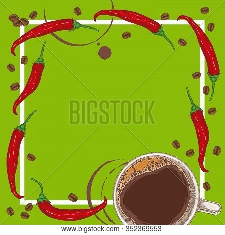 Green Menu Template With Coffee, Chili Peppers And Coffee Beans On Green Background With Blank Area