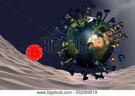 Coronavirus With Earth Map Inside It, 3d Illustration
