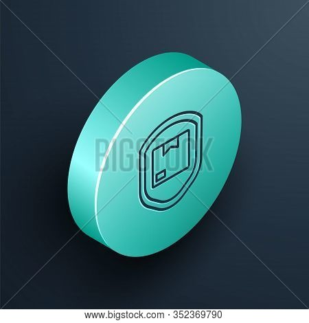 Isometric Line Delivery Pack Security With Shield Icon Isolated On Black Background. Delivery Insura